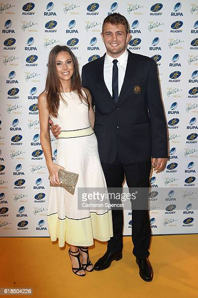 Dean Mumm of the Wallabies and wife Sarah Mumm arrive at the 2016 John Eales Medal at Royal Randwick Racecourse on October 27 2016 in Sydney Australia