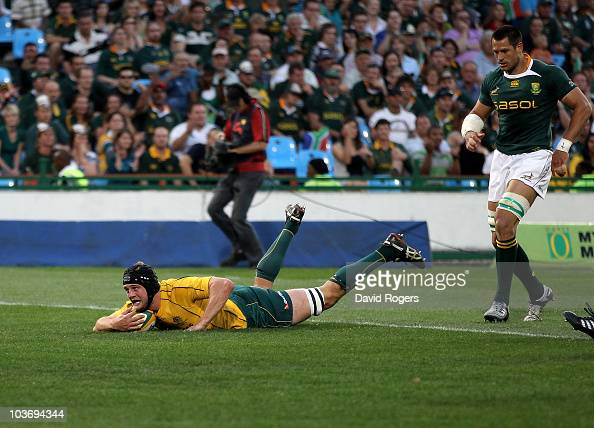 Dean Mumm of the Wallabies dives over for a try during the 2010 TriNations match between the South African Springboks and the Australian Wallabies at...