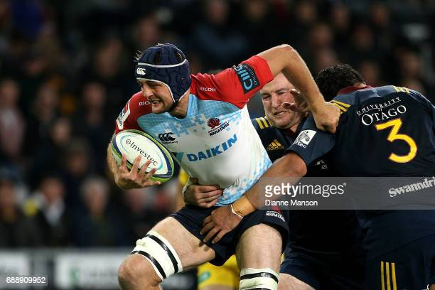Dean Mumm of the Waratahs on the charge during the round 14 Super Rugby match between the Highlanders and the Waratahs at Forsyth Barr Stadium on May...
