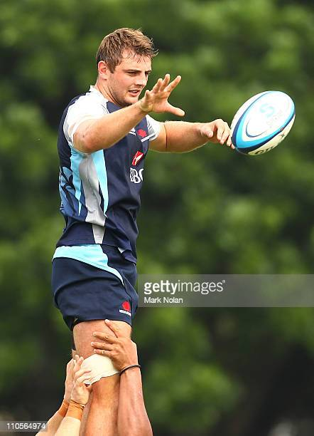 Dean Mumm takes line out ball during a Waratahs Super Rugby training session at Moore Park on March 22 2011 in Sydney Australia
