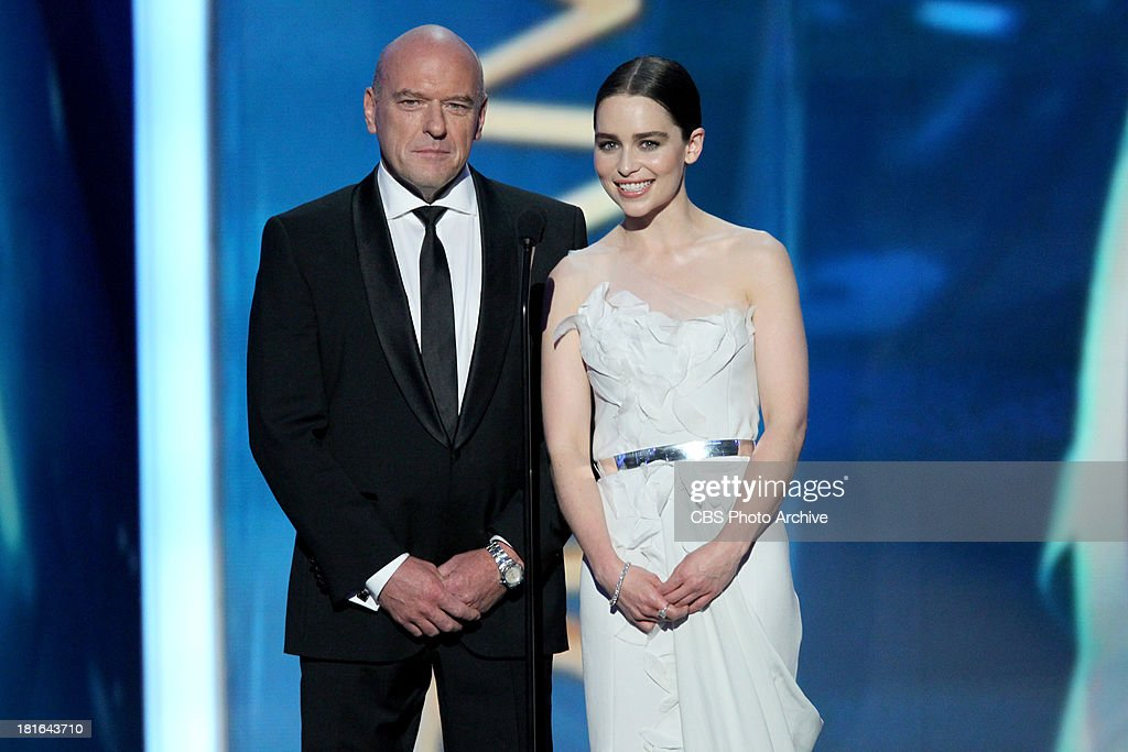 <a gi-track='captionPersonalityLinkClicked' href=/galleries/search?phrase=Dean+Norris&family=editorial&specificpeople=4195761 ng-click='$event.stopPropagation()'>Dean Norris</a> and <a gi-track='captionPersonalityLinkClicked' href=/galleries/search?phrase=Emilia+Clarke&family=editorial&specificpeople=7426687 ng-click='$event.stopPropagation()'>Emilia Clarke</a> during the 65th Primetime Emmy Awards which will be broadcast live across the country 8:00-11:00 PM ET/ 5:00-8:00 PM PT from NOKIA Theater L.A. LIVE in Los Angeles, Calif., on Sunday, Sept. 22 on the CBS Television Network.