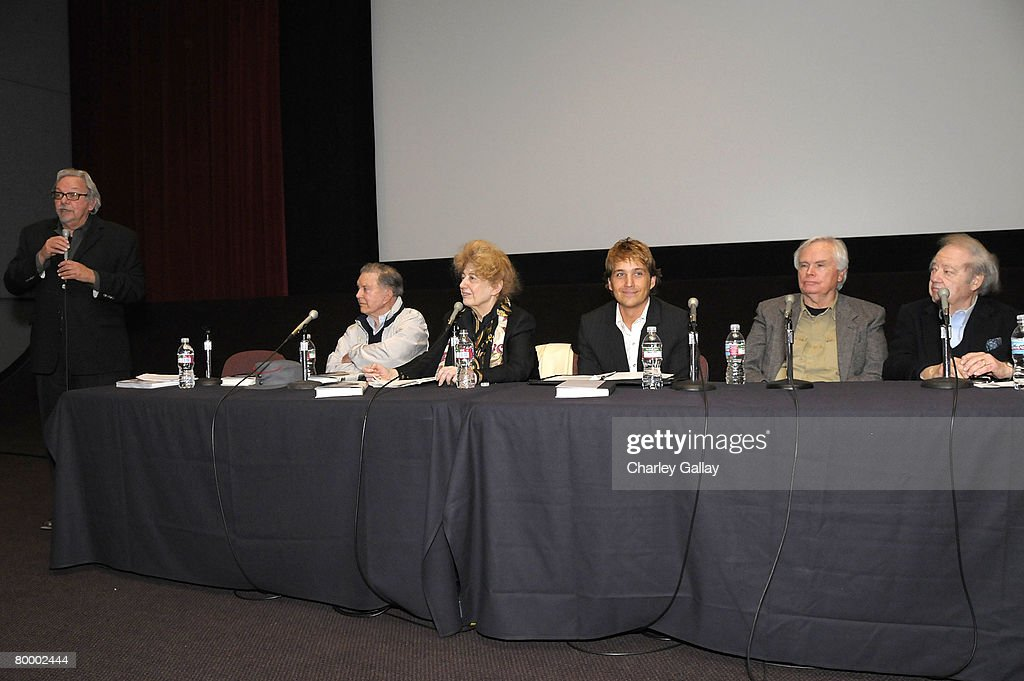 Dean of the UCLA School of Theater, Film and Television, Robert Rosen, actor Cliff Robertson, writer Charlotte Chandler, film historian Sean Sobeck, film critic Ken Thomas, and veteran public relations professional Warren Cowan Warren Cowan participate in a panel discussion during the 'UCLA Tribute to Screen Legend Joan Crawford' at the James Bridges Theater February 25, 2008 in Los Angeles, California.