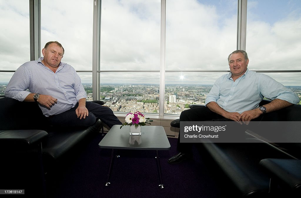 Dean Richards of Newcastle Falcons and Gary Gold of Bath sit on sofa's over looking London during the 2013-14 Aviva Premiership Rugby Season Fixtures Announcement at The BT Tower on July 4, 2013 in London, England.