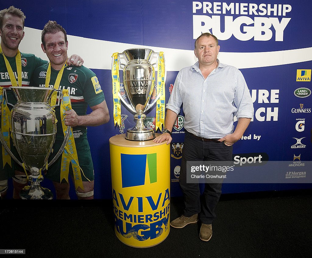 Dean Richards of Newcastle Falcons stand with the Aviva Premiership Trophy during the 2013-14 Aviva Premiership Rugby Season Fixtures Announcement at The BT Tower on July 4, 2013 in London, England.