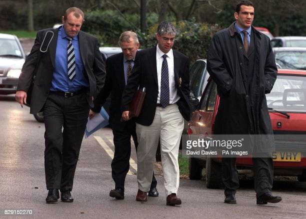 Dean Richards Peter Wheeler Sam RosetterStead and Leicester and England captain Martin Johnson arrive at the disciplinary hearing being held at the...
