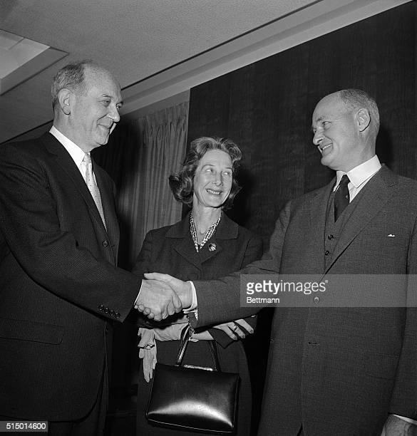 Dean Rusk Congratulates George F Kennan on his new post as United States Ambassador to Yugoslavia Mrs Kennan looks on