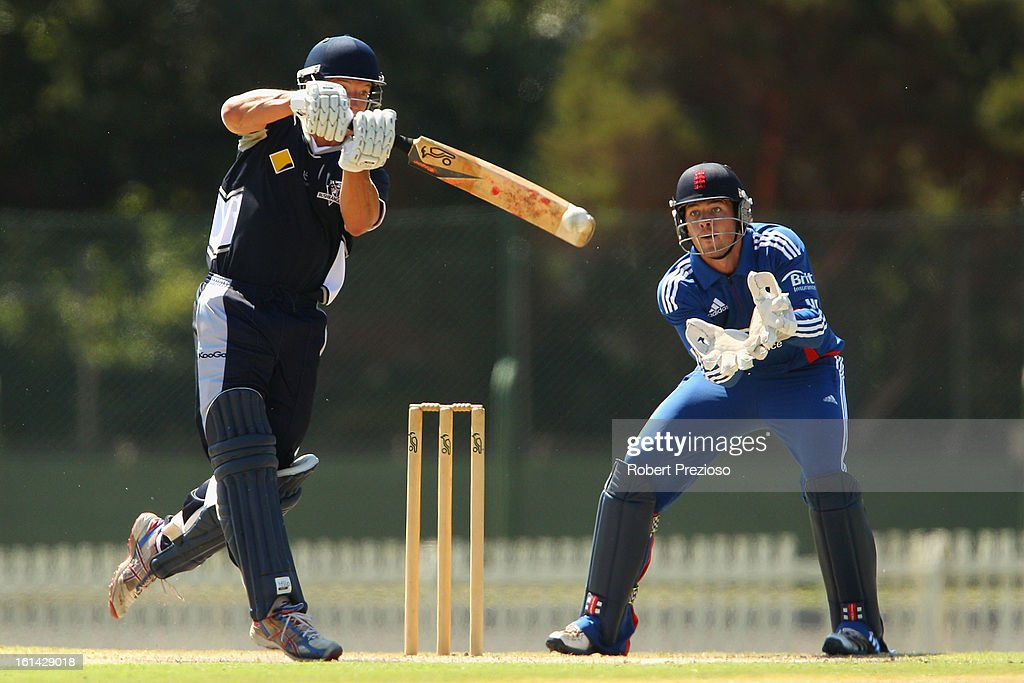 Dean Russ of the Bushrangers plays a shot during the International Tour match between the Victoria Bushrangers and England Lions at Junction Oval on February 11, 2013 in Melbourne, Australia.