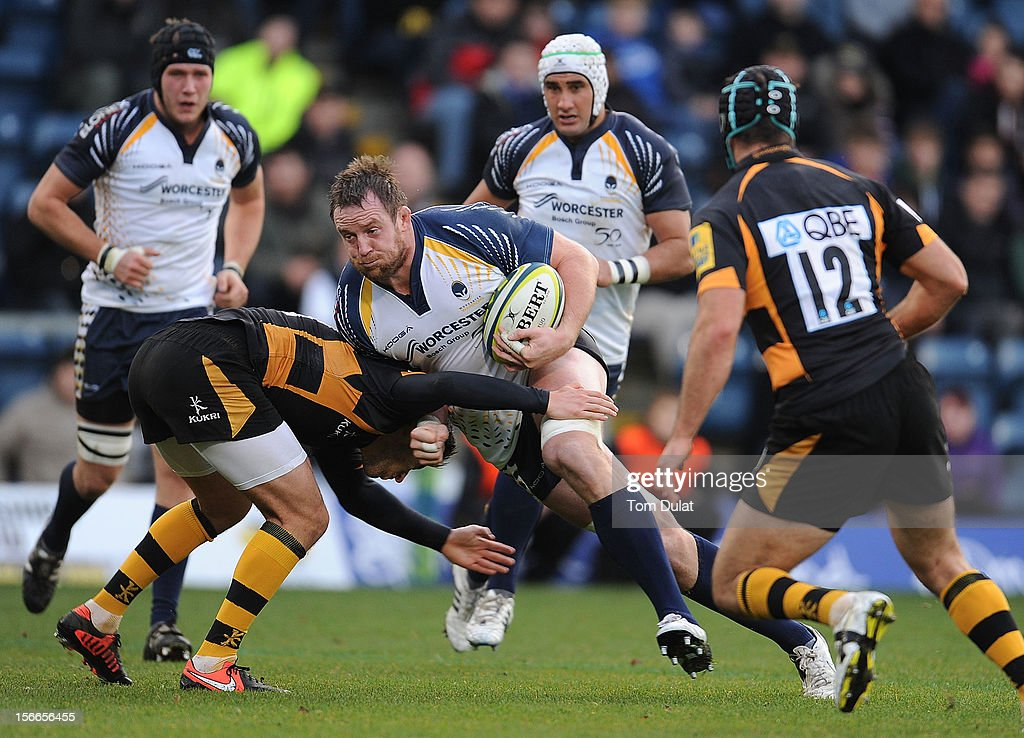 Dean Schofield of Worcester Warriors in action during the LV= Cup match between London Wasps and Worcester Warriors at Adams Park on November 18, 2012 in High Wycombe, England.