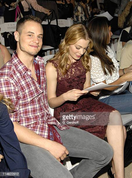Dean Sheremet and LeAnn Rimes during Olympus Fashion Week Spring 2007 Monique Lhuillier Front Row and Backstage at The Promenade Bryant Park in New...