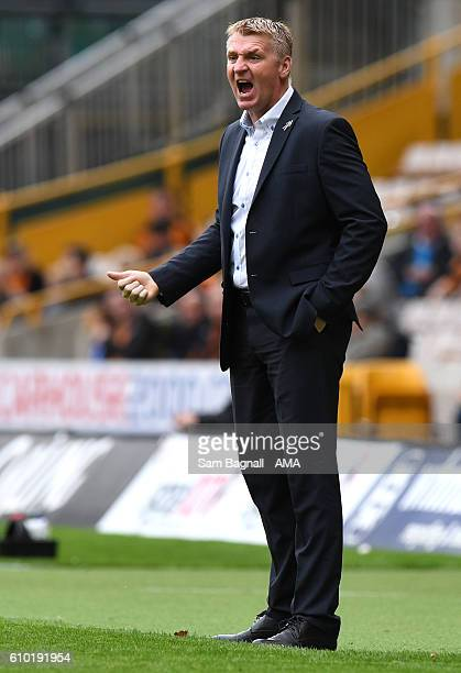 Dean Smith manager / head coach of Brentford during the Sky Bet Championship match between Wolverhampton Wanderers and Brentford at Molineux on...