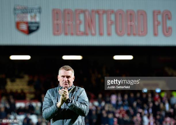 Dean Smith Manager of Brentford FC ahead of the Sky Bet Championship match between Brentford and Wolverhampton Wanderers at Griffin Park on March 14...