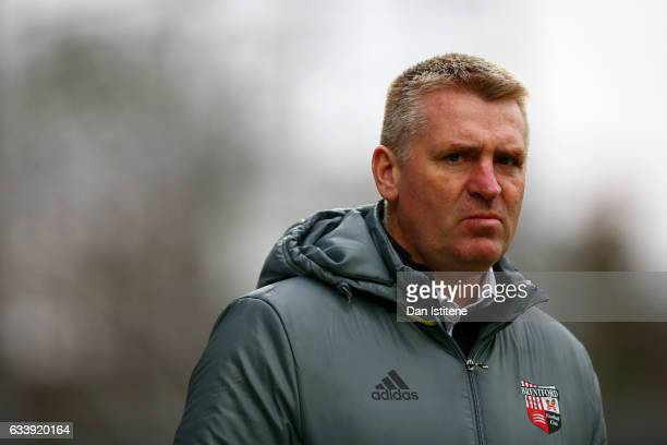 Dean Smith manager of Brentford looks on before the Sky Bet Championship match between Brentford and Brighton Hove Albion at Griffin Park on February...