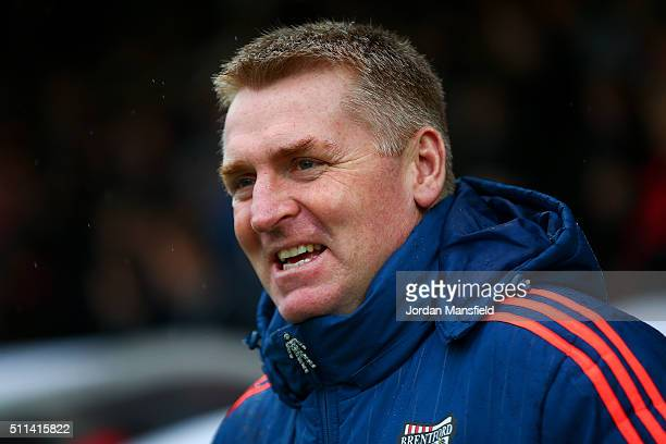 Dean Smith manager of Brentford looks on during the Sky Bet Championship match between Brentford and Derby County at Griffin Park on February 20 2016...