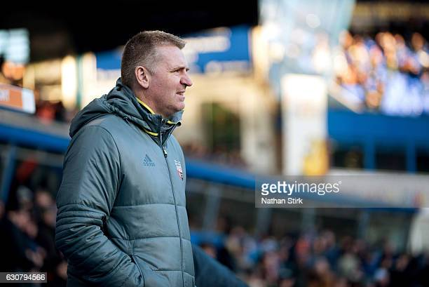 Dean Smith manager of Brentford looks on during the Sky Bet Championship match between Birmingham City and Brentford at St Andrews Stadium on January...