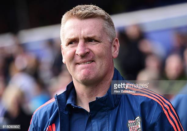 Dean Smith manager of Brentford looks on prior to the Sky Bet Championship match between Queens Park Rangers and Brentford at Loftus Road on March 12...