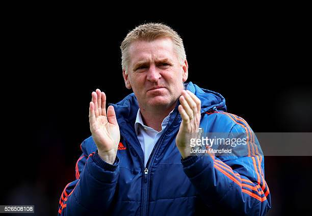 Dean Smith manager of Brentford looks on prior to the Sky Bet Championship match between Brentford and Fulham at Griffin Park on April 30 2016 in...