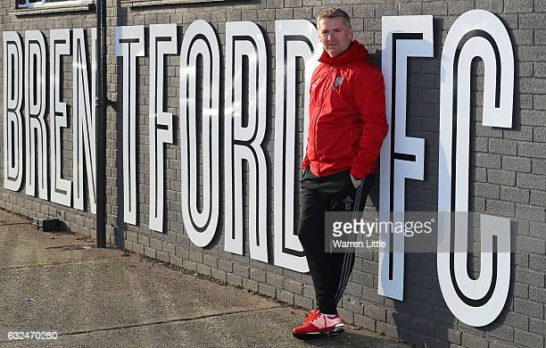 Dean Smith Manager of Brentford poses for portraits during a Brentford training session at Brentford Training Ground on January 23 2017 in Brentford...