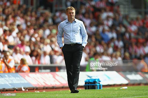 Dean Smith manager of Walsall looks on during the npower League One match between Southampton and Walsall at St Mary's Stadium on May 7 2011 in...