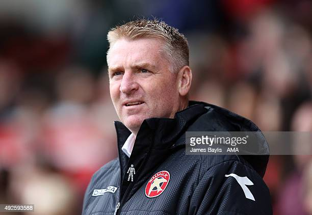 Dean Smith the head coach / manager of Walsall during the Sky Bet League One match between Walsall and Burton Albion at Bescot Stadium on October 10...
