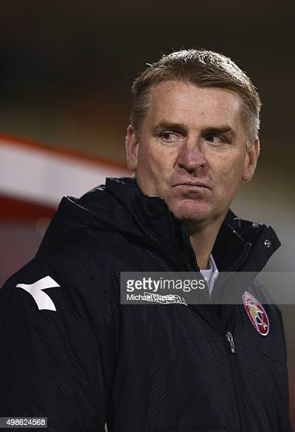 Dean Smith the manager of Walsall looks on during the Sky Bet League One match between Swindon Town and Walsall at the County Ground on November 24...