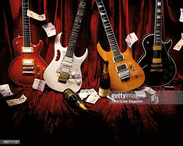 A Dean Soltero SL Ibanez JEM 7V Jackson Soloist SL2H and a Gibson Les Paul Custom taken on May 19 2008