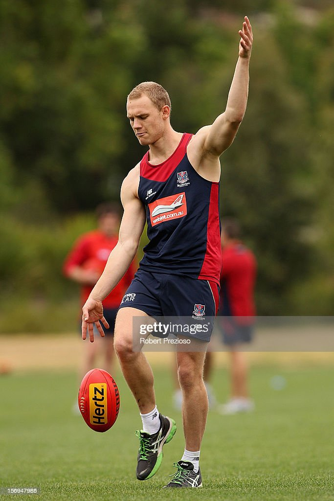 Dean Terlich kicks during a Melbourne Demons AFL pre-season training session at Gosch's Paddock on November 26, 2012 in Melbourne, Australia.