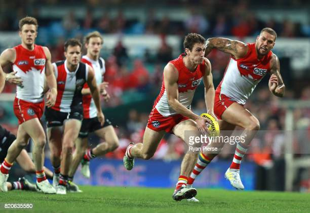 Dean Towers of the Swans looks upfield during the round 18 AFL match between the Sydney Swans and the St Kilda Saints at Sydney Cricket Ground on...