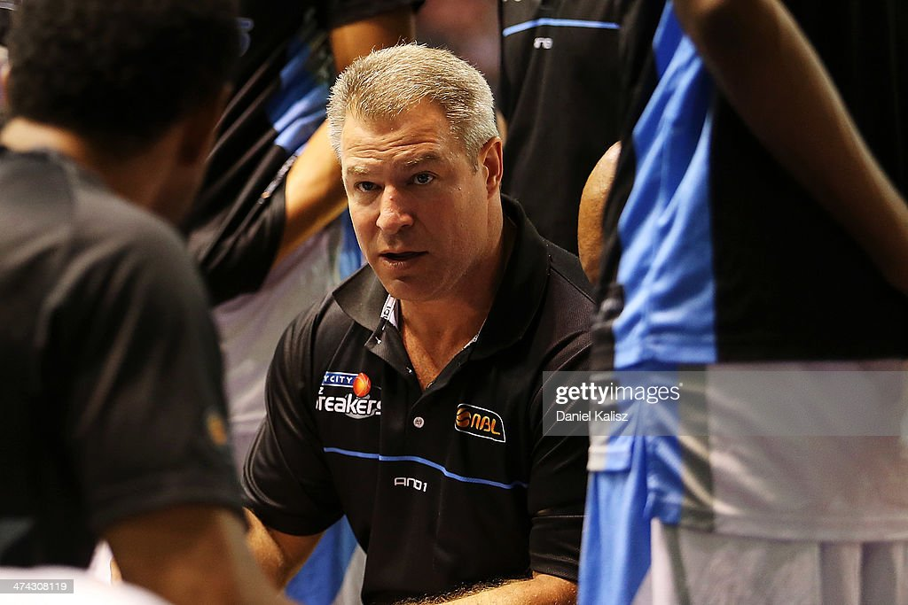 Dean Vickerman coach of the Breakers is pictured during a time out period during the round 19 NBL match between the Adelaide 36ers and the New Zealand Breakers at Adelaide Arena in February 23, 2014 in Adelaide, Australia.