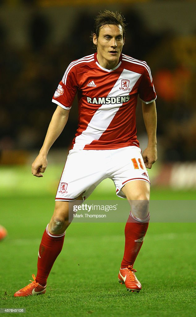 <a gi-track='captionPersonalityLinkClicked' href=/galleries/search?phrase=Dean+Whitehead&family=editorial&specificpeople=185232 ng-click='$event.stopPropagation()'>Dean Whitehead</a> of Middlesborough in action during the Sky Bet Championship match between Wolverhampton Wanderers and Middlesbrough at Molineux on October 21, 2014 in Wolverhampton, England.