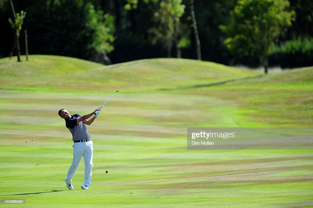 Dean Whitelock of St. Mellion Golf & Country Club plays a shot on the 17th hole during day three of the Golfbreaks.com PGA Fourball Championship at St. Mellion International Resort on August 22, 2014 in Saltash, England.