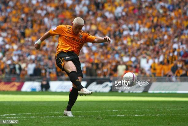 Dean Windass of Hull City scores their first goal during the Coca Cola Championship Playoff Final match between Hull City and Bristol City at Wembley...