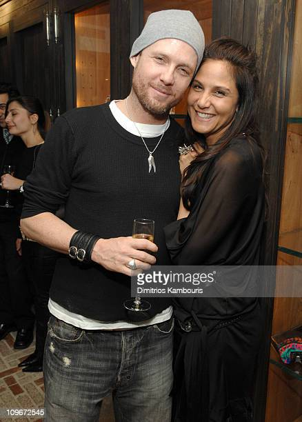 Dean Winters and Laurie Lynn Stark during Chrome Hearts Mapplethorpe Party February 9 2007 at Chrome Hearts Flag Ship Store in New York City New York...
