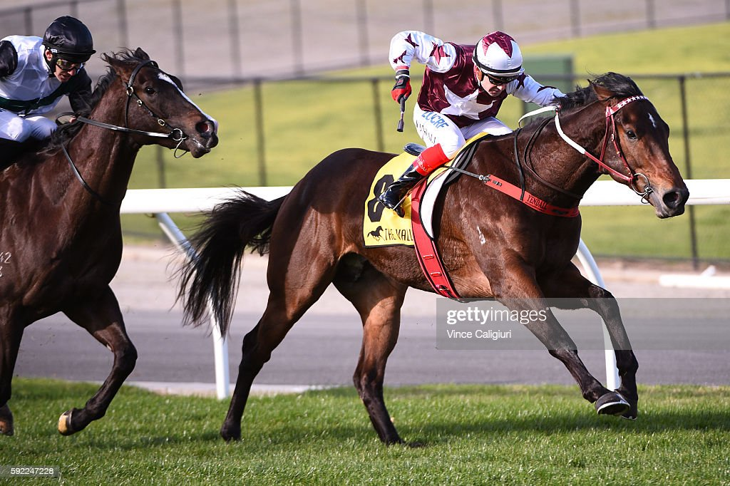Dean Yendall riding Ken's Dream winning Race 5, Nissan Mc Kenzie Stakes during Melbourne Racing at Moonee Valley Racecourse on August 20, 2016 in Melbourne, Australia.