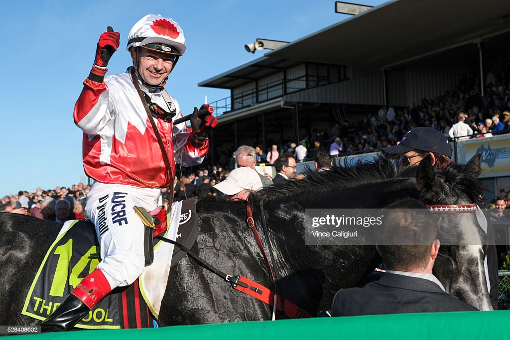 Dean Yendall riding Master of Arts after winning Race 8, the Warrnambool Cup during Grand Annual Day at Warrnambool Race Club on May 5, 2016 in Warrnambool, Australia.