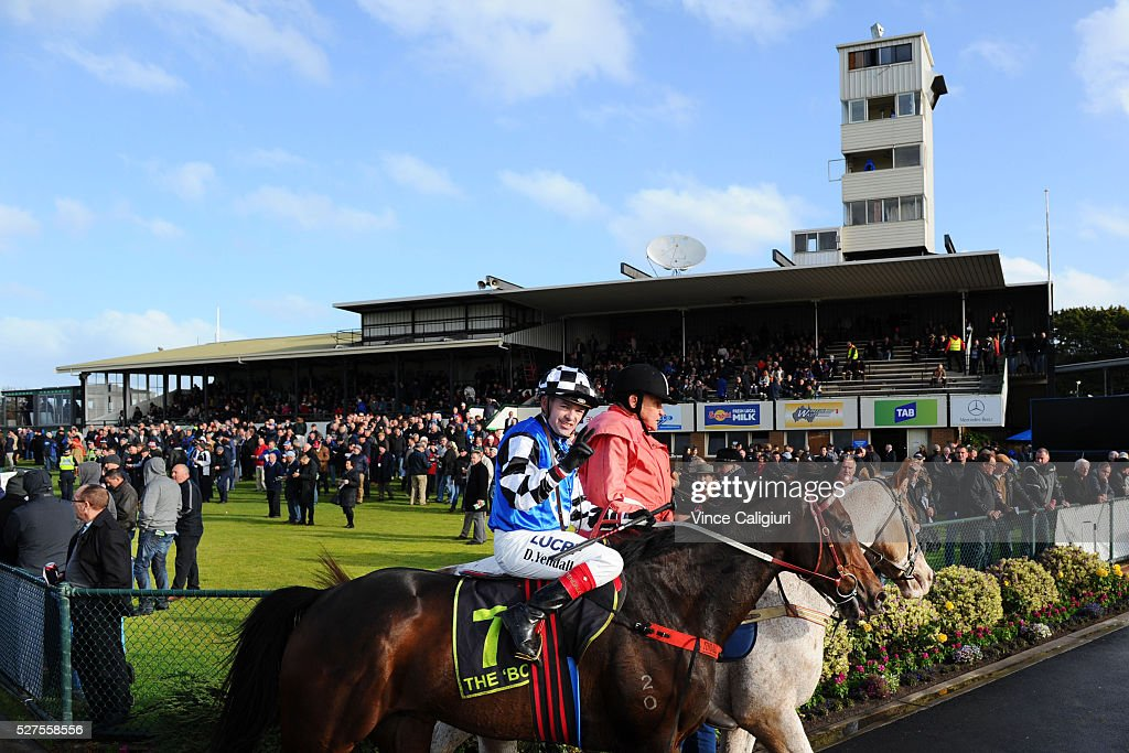 Dean Yendall riding Turnitaround after winning Race 7 during Brierly Day at Warrnambool Race Club on May 3, 2016 in Warrnambool, Australia.