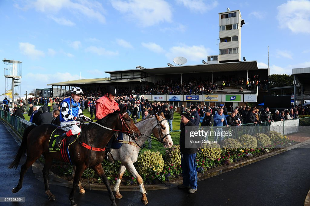 Dean Yendall riding Turnitaround after winning Race7 during Brierly Day at Warrnambool Race Club on May 3, 2016 in Warrnambool, Australia.