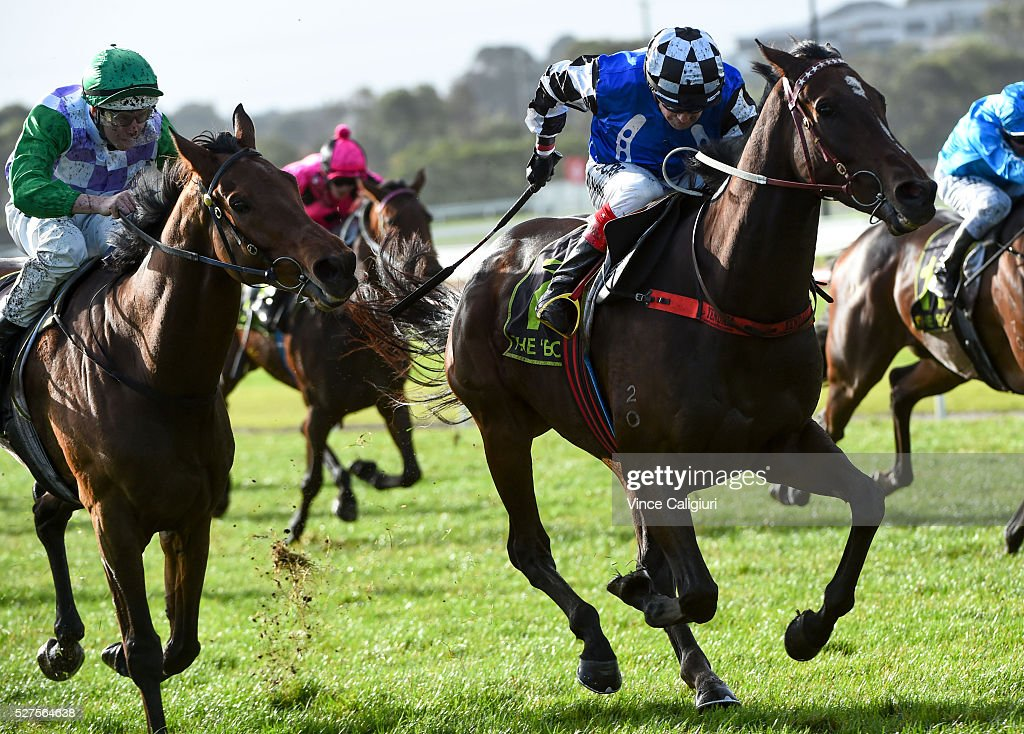 Dean Yendall riding Turnitaround winning Race7 during Brierly Day at Warrnambool Race Club on May 3, 2016 in Warrnambool, Australia.