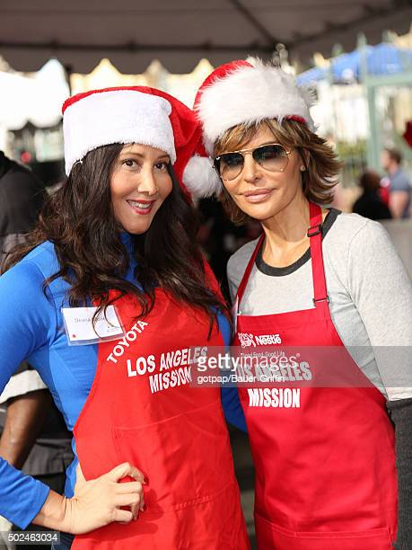 Deana Molle and Lisa Rinna are seen at the annual Los Angeles Mission Christmas Dinner on December 24 2015 in Los Angeles California