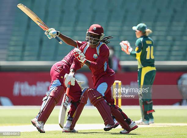 Deandra Dottin and Stafanie Taylor of the West Indies collide whilst running between the wicket during game three of the International Women's...
