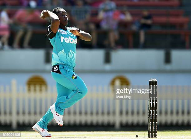 Deandra Dottin of the Heat bowls during the Women's Big Bash League match between the Sydney Sixers and the Brisbane Heat at North Sydney Oval on...