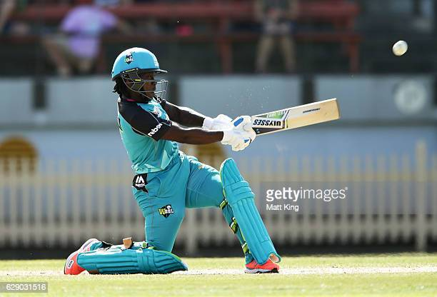 Deandra Dottin of the Heat plays a reverse sweep shot during the Women's Big Bash League match between the Sydney Sixers and the Brisbane Heat at...