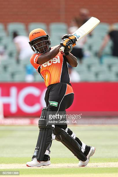 Deandra Dottin of the Perth Scorchers bats during the Women's Big Bash League match between the Adelaide Strikers and the Perth Scorchers at Adelaide...