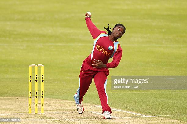 Deandra Dottin of the west Indies bowls during game one of the women's One Day International series between Australia and the West Indies at...