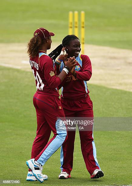 Deandra Dottin of the West Indies celebrates getting a wicket during game two of the women's international one day series between Australia and the...