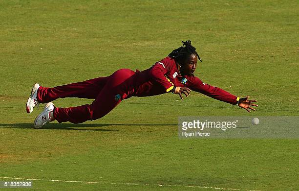 Deandra Dottin of the West Indies fields during the Women's ICC World Twenty20 India 2016 Semi Final match between West Indies and New Zealand at...