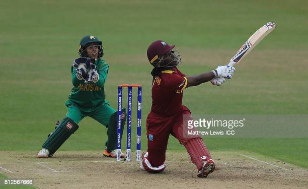 Deandra Dottin of the West Indies hits a six during the ICC Women's World Cup 2017 match between West Indies and Pakistan at Grace Road on July 11...