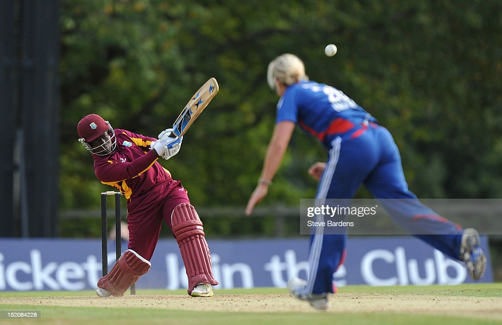 Deandra Dottin of the West Indies hits a six during the NatWest Women's International T20 Series match between England Women and West Indies Women at Arundel on September 16, 2012 in London, England.