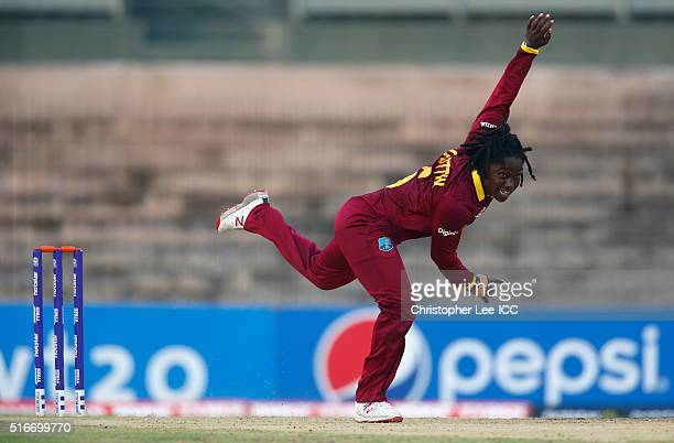 Deandra Dottin of the West Indies in action during the Women's ICC World Twenty20 India 2016 Group B match between West Indies and Bangladesh at the...