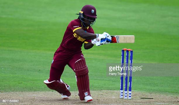 Deandra Dottin of West Indies bats during the ICC Women's World Cup 2017 match between Australia and West Indies at The Cooper Associates County...