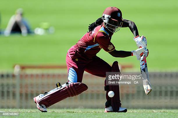 Deandra Dottin of West Indies bats during the women's International Twenty20 match between Australia and the West Indies at North Sydney Oval on...